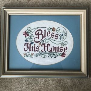 BLESS THIS HOUSE ART Cross-Stitch In Frame